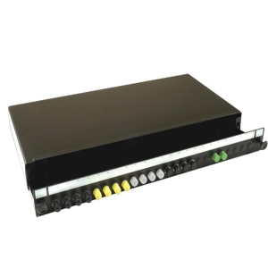 S01 1U Black Sliding Patch Panel – 24 Position ST/FC up to 24 fibres